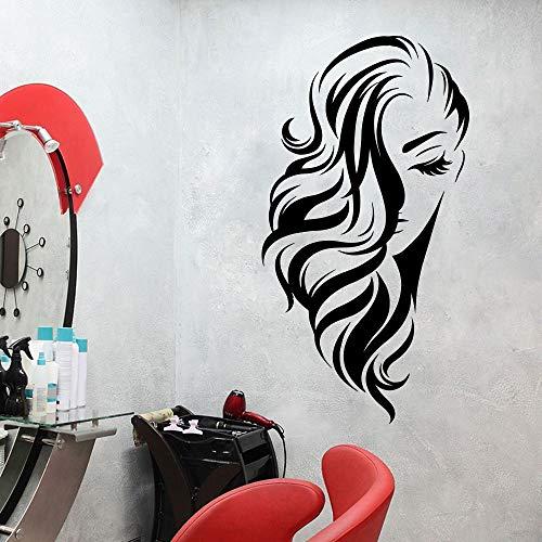 hetingyue Big Salon Hair Frau Fenster Wanddekoration Dekorieren Vinyl Wandaufkleber Fenster Friseur Friseursalon Frisur 56x30cm