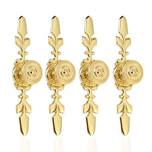 Fdit 4 Stück Vintage Style Pull Griff Türknauf zurück Platte für Home Möbel Schublade Schrank Kommode Kleiderschrank Schrank Schrank mit Schraube(Gold) (Türgriff Gold)