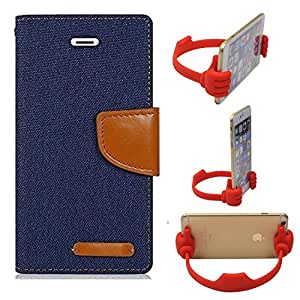 Aart Fancy Wallet Dairy Jeans Flip Case Cover for Apple4G (NavyBlue) + Flexible Portable Mount Cradle Thumb OK Designed Stand Holder By Aart Store.