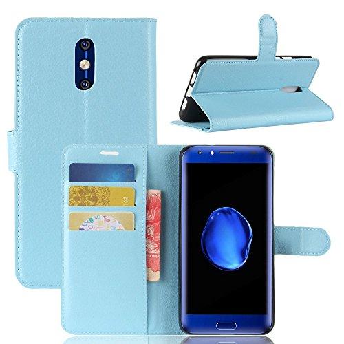 Tasche für Doogee BL5000 Hülle, Ycloud PU Kunstleder Ledertasche Flip Cover Wallet Case Handyhülle mit Stand Function Credit Card Slots Bookstyle Purse Design blau