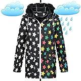 Brave Soul Damen Regenjacke Übergang Parka Friesennerz Regen Mantel Jacke Stars Drops AZ39, Größe:S/M;Farbe:Schwarz
