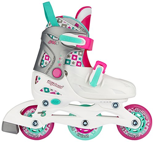 Nijdam Kinder SK8 Inline Skates Junior Adjustable • Hardboot • •, White/Aqua/Fuchsia, 27-30