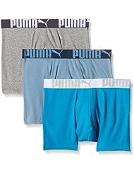 Puma Herren Boxer Shorts 3P Weich Stoff Sports Athletic Hose Drei Paar Packung
