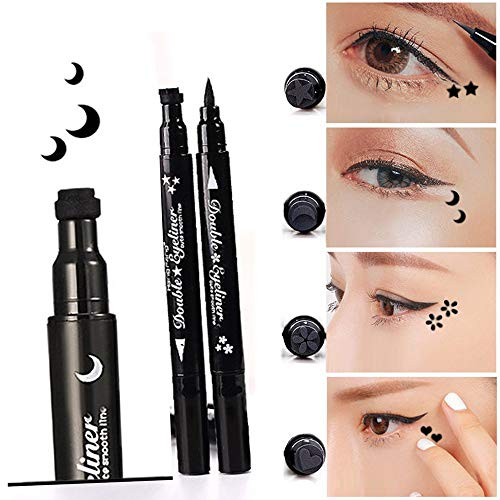 TEN-G 1x Eye Makeup Stamp Eyeliner Pencil Set Waterproof Double Head with Body Face Painting Stamp (Moon) - Eye Pencil Plum