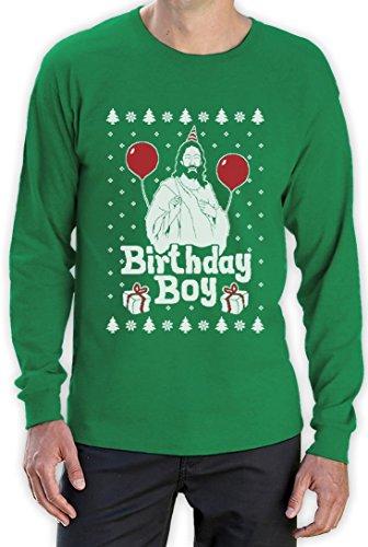 Jesus Christus Birthday Boy Witziges Weihnachten Design Langarm T-Shirt Grün