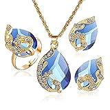 Scpink Angebote Halskette + Ohrringe + Ring Schmuck Set Womens Mixed Style Bohemia Farbe Bib Kette Schmuck (Blau)