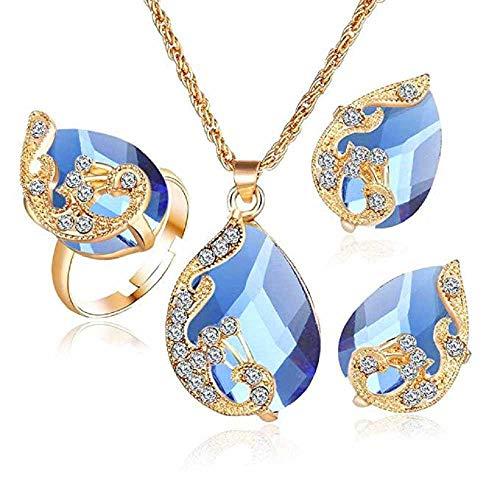 Scpink Angebote Halskette + Ohrringe + Ring Schmuck Set Womens Mixed Style Bohemia Farbe Bib Kette Schmuck (Blau) - Ringe Amethyst Teardrop