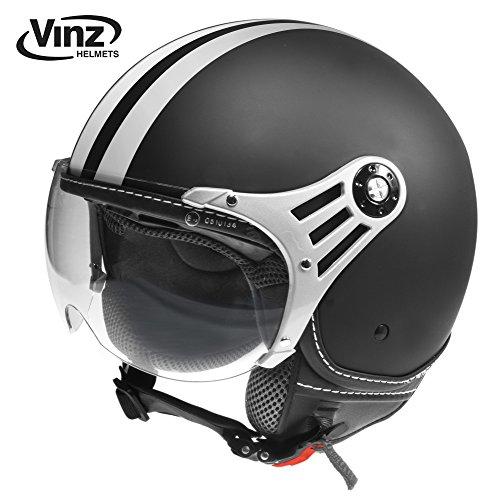 Vinz Rollerhelm Jethelm Fashionhelm | Roller Jet Helm mit Streifen | in Gr. XS-XL | Motorradhelm mit Visier | ECE zertifiziert (XL, Matt Schwarz)