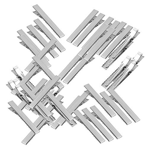 MagiDeal 50pcs Stueck Haarspangen Einzel Metall Alligator Zinke Clips Haarklammern Haarschleifen Silbrig - 35mm (- Einzel 35)