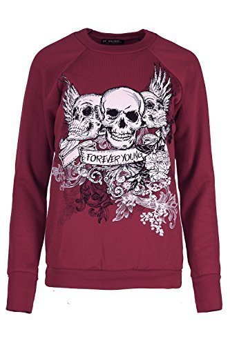 Damen Halloween Pulli Damen Kostüm 3 Schädel Forever Young Fleece Sweatshirt Top - Wein, (Size Plus 22 Kostüme Halloween)