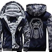 Men Hoodies Winter Camouflage Thick Fleece Hooded Sweatshirt Hip Hop Fashion Harajuku Zip Up Hoodie,Blue,5XL