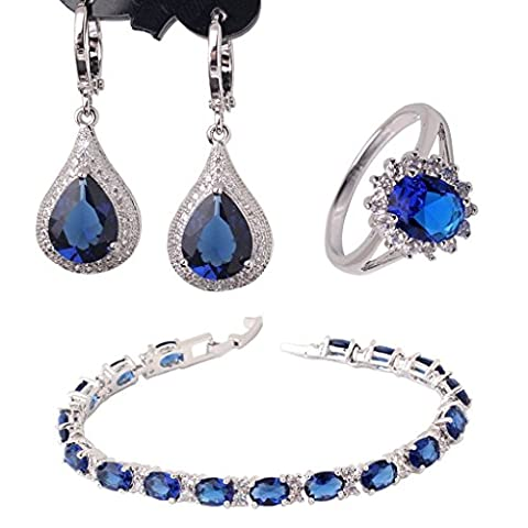 GULICX White Gold Electroplated Sapphire Color Blue CZ Jewellery Set