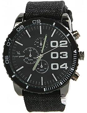 NEW V6 SUPER BIG DIAL New Luxury Sport Herren-Armbanduhr Vintage Fabric Band Clock schwarz