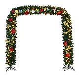 COSTWAY künstliche Weihnachtsgirlande mit Gestell Türgirlande Tannengirlande Weihnachtsdeko Weihnachtsbaum Weihnachtsbaumdeko inkl. 2 Metallständer / warmweiße LED-Beleuchtung / Dekoration / grün (274x243cm)