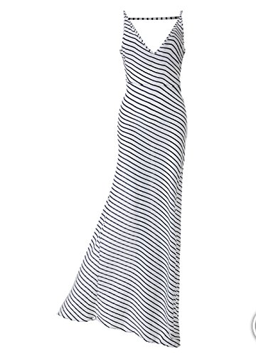 BOMOVO Damen Streifen Lange Neckholder Maxi Kleid Abendkleid Weiß