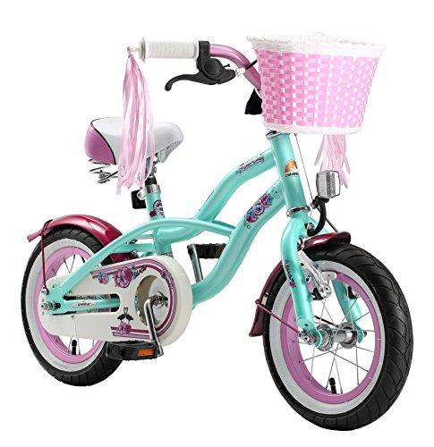 BIKESTAR Premium Sicherheits Kinderfahrrad 12 Zoll für Mädchen ab 3 - 4 Jahre ★ 12er Kinderrad Cruiser ★ Fahrrad für Kinder Mint (12 Zoll Fahrräder Für Mädchen)