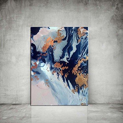 XIAOXINYUAN Blau und Kupfer Art Wall Kunstdrucke Kunstdrucke Abstrakte Malerei Wand Dekor Kunstdruck Blaue Malerei 70 X 90 cm Ohne Rahmen