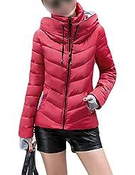 SODIAL (R) caliente de invierno nuevas mujeres coreanas adelgazan acolchada gruesa chaqueta acolchada abrigo Rojo - L