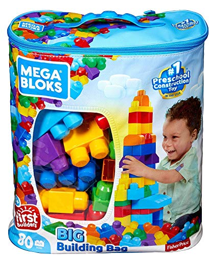 Mega bloks sacca ecologica, 80 pezzi, blocchi da costruzione, giocattolo per bambini 1+ anni, colore blu, dch63