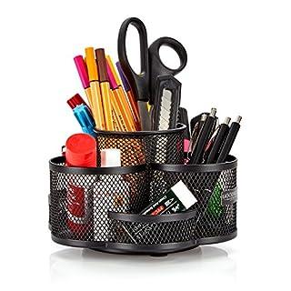 Schreibtisch Ordnungssystem drehbar in schwarz - hochwertiger und großer Stifteköcher aus Metall - edler Schreibtischorganizer, Stiftehalter, Büro Organizer in modernem Rund Design