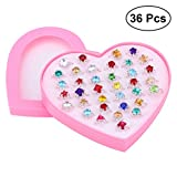 #6: TOYMYTOY Adjustable Rings Set for Little Girls | 36pcs Jewelry Rings with Heart Shape Box, Birthday Gift
