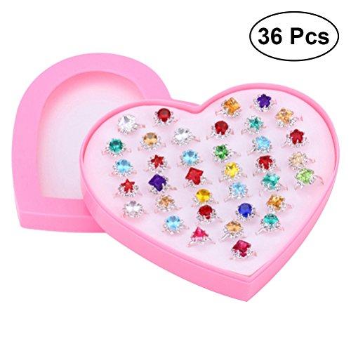e Ringe für kleine Mädchen | 36pcs Schmuck Ringe mit Herzform Box, Geburtstagsgeschenk (Kleine Jungen In Anzügen)