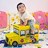 ASkyl Kids Large Foldable Toy Box Stool Storage Chest Kids School Bus Books Clothes random color by ASkyl