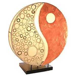 Deko-Leuchte YING YANG, rund, Natur-Material, 30 cm Durchmesser, Stimmungsleuchte, Farbe:orange