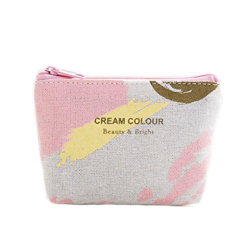LUFA Sacchetto della borsa della carta di chiave della moneta portatile della ragazza del raccoglitore della chiusura lampo della tela di canapa stampata del cielo rosa rosa giallo