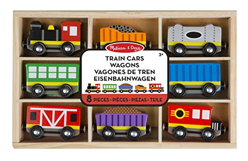 "Melissa & Doug Train Cars Wagons Vagones De Treb Eisenbahnwagen ""8 Pieces"""