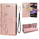 Teebo Wallet Case for Nokia 7 Plus, 3 Card Holder Embossed