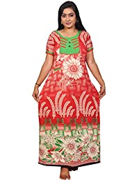 AISNIGHA Womens red Print Cotton Nighty 5064 (XX-Large, Cotton)