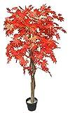 Decovego Ahorn Ahornbaum Kunstpflanze Kunstbaum Künstliche Pflanze mit Echtholz Rote Blätter 150cm