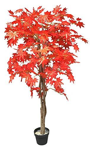 Ahorn Ahornbaum Kunstpflanze Kunstbaum Künstliche Pflanze mit Echtholz Rote Blätter 150cm Decovego