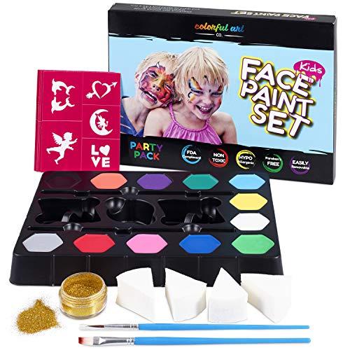 Colorful Art Co. Face Paint Schminke-Set für Kinder - 12 Farben + Gold Glitzer + 4 Schwämme + 2 Pinsel + 30 Malerschablonen - Wasserbasiertes Kinderschminke-Set - Ungiftig - Hypoallergen ()
