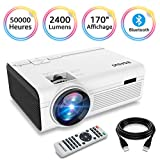 BIGASUO Vidéoprojecteur 2400 Lumens Portable LED Mini Projecteur Bluetooth, Soutien Charge Le Format Plein HD 1080P iPhone Andriod Jeu TV multimédia Home Theater Entertainment