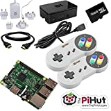 The Pi Hut - Raspberry Pi 3 16 GB kit videogiochi retro con 2 controller in stile  SNES