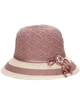 Verano Mujer Trilby Panamá de paja de ala ancha playa Cap Bowknot nuevo sombrero para el sol, Rosa HNAA