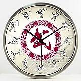 YNMB KS La Pratique des Arts Martiaux Chinois Traditionnels décorées Chambre Réveil Quartz Horloge Murale avec Calme Réveil Salon Nouvelle (Couleur: Argent, Taille: L)
