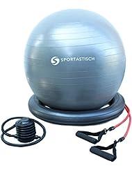 "EXCELENTE:: Pelota de gimnasia ""Workout Ball"" + bandas de resistencia + bomba + base de equilibrio Protección anti-burst :: 65 cm :: para mujeres embarazadas, adultos y niños :: 3 años de garantía"
