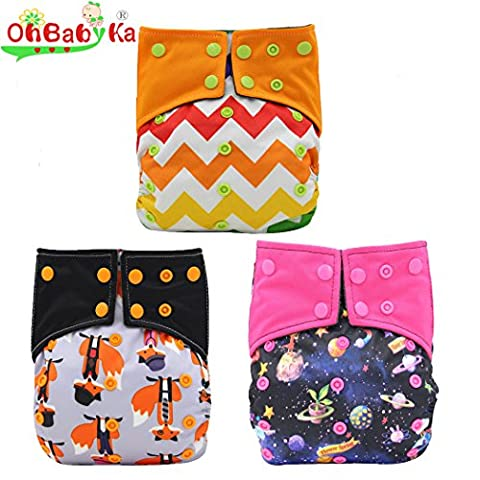 OHBABYKA AIO Sewn In Insert Baby Cloth Nappies Reusable Waterproof