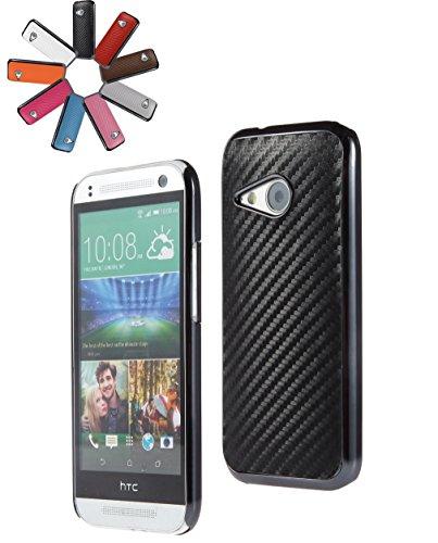 Fall Htc Mini One 1 (Bralexx 6255Metallic-6241Schwarz-Carbon Smartphone Case passend für HTC One mini 2 Generation metallic schwarz)