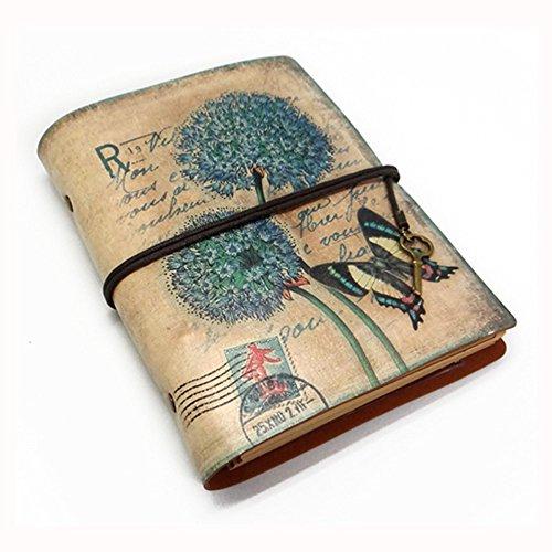 NectaRoy Retro Vintage Cuero Cuaderno Diario Notebook, Vintage Traveler Portátil, Rellenable, Diario Planificador con Papel Blanco y Bolsillo con Cremallera, 188x142x30mm