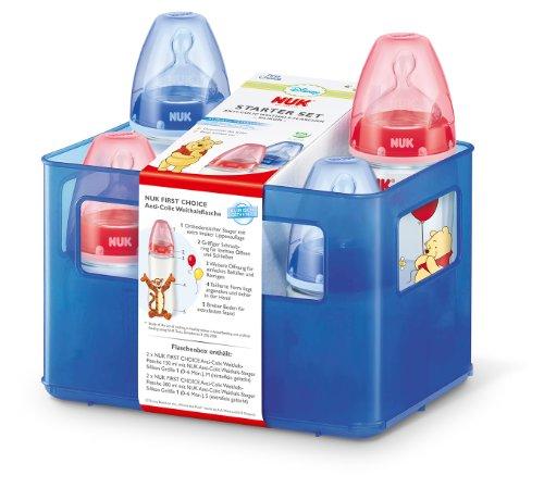 NUK 10225078 - Disney First Choice Starter Set mit 4 Anti-Colic Weithals-Flaschen und Flaschenbox
