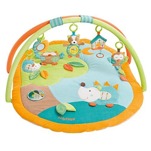 dschungel baby Fehn 071559 3-D-Activity-Decke Sleeping Forest – Spielbogen mit 5 abnehmbaren Spielzeugen für Babys Spiel & Spaß von Geburt an – Maße: 80x105cm