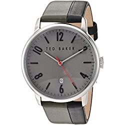 Ted Baker Men's 'Modern Visual' Quartz Stainless Steel and Leather Dress Watch, Color:Grey (Model: 10030757)
