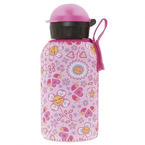 (Laken Thermo HIT Thermosflasche Edelstahl Kinderflasche Schmale Öffnung 350ml mit Neopren-Bezug Katuki Saguyaki Bugs and Flowers)
