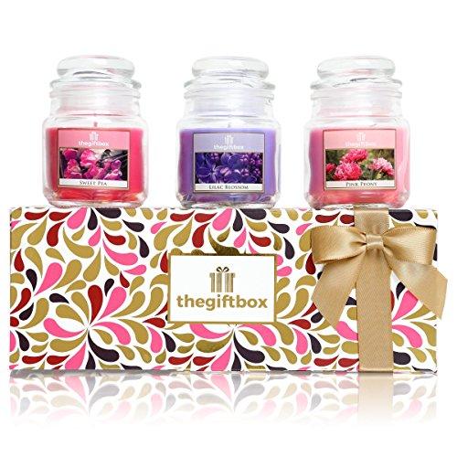 The Gift Box Silverglow Duftkerze Geschenk-Set mit 3 Kerzen in Einem Glas. Duftkerzen Make ultimative Geschenke für Damen, Große Geschenke für Sie für Damen.