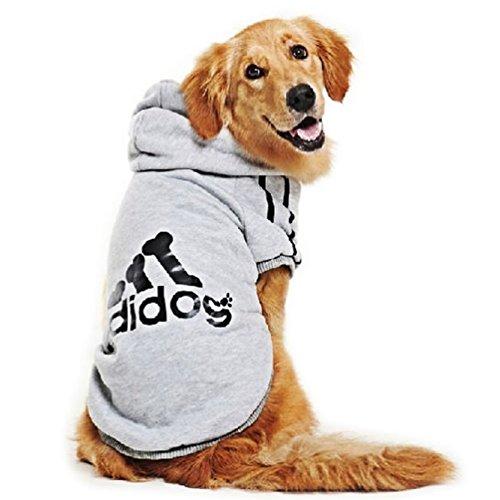 Kaymayn adidog sport dog hoodie pet cucciolo di cane gatto camicia vestiti cappotto con cappuccio maglione costumi big & small size (dalla s alla 9x l),7colori grey xxxxl