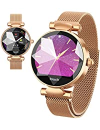 Multi-Perspective Multi-Function Smart Watch for Women Blood Pressure Sleep Heart Rate Physiological Cycle Monitor Sports Pedometer Waterproof (Gold)